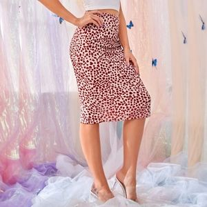 Slit Hem Heart Print Pencil Style Skirt Red Sz XS